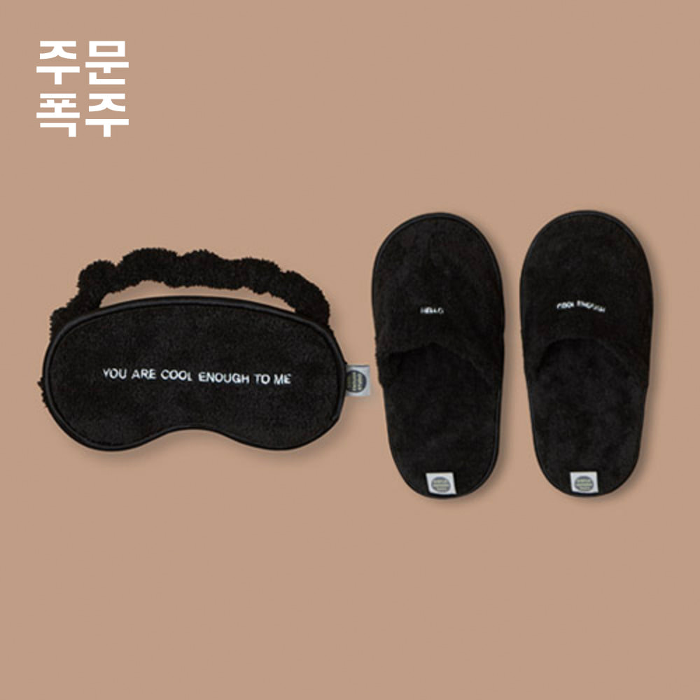 THE SLEEPING MASK&THE TOWEL SLIPPERS[BLACK]
